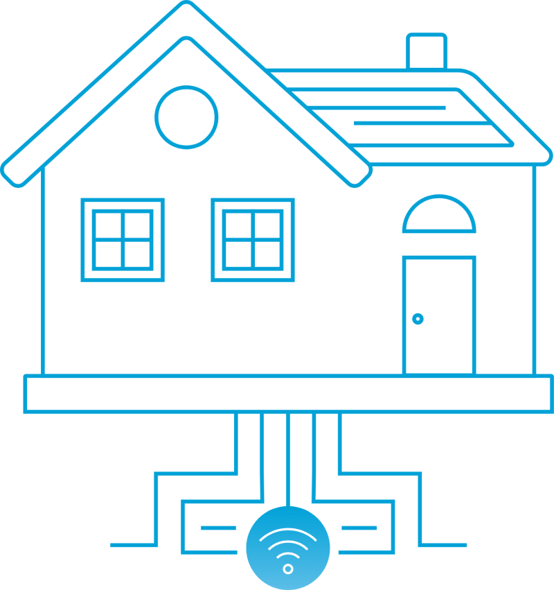 iconic outline of a home with fiber